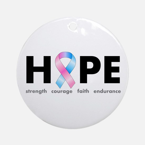 Pink & Blue Ribbon Hope Ornament (Round)