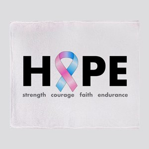 Pink & Blue Ribbon Hope Throw Blanket