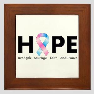 Pink & Blue Ribbon Hope Framed Tile