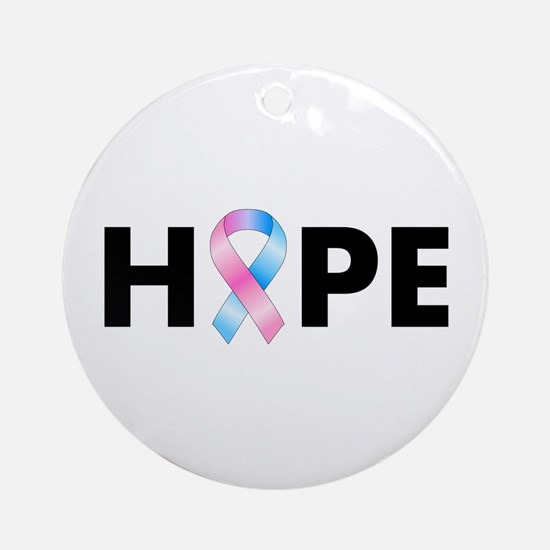 Pink & Blue Ribbon Hope Ornament (Round)
