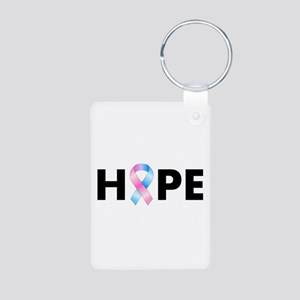 Pink & Blue Ribbon Hope Aluminum Photo Keychain
