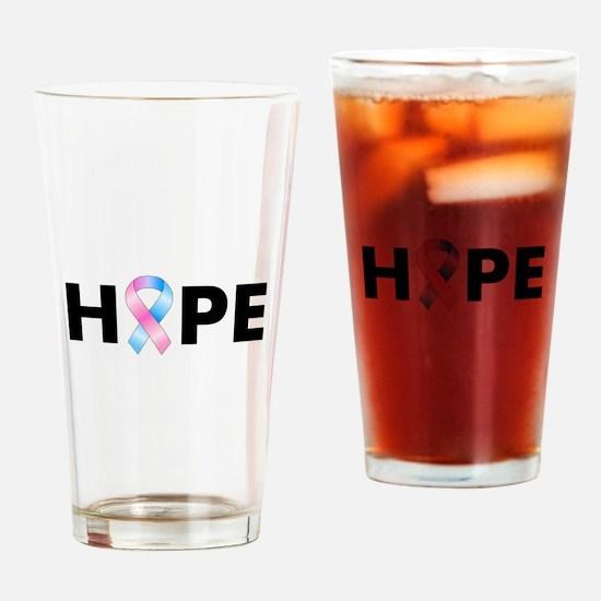 Pink & Blue Ribbon Hope Drinking Glass