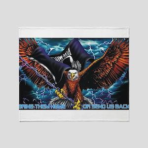 POW MIA Eagle Throw Blanket