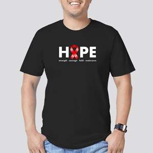 Red Ribbon Hope Men's Fitted T-Shirt (dark)