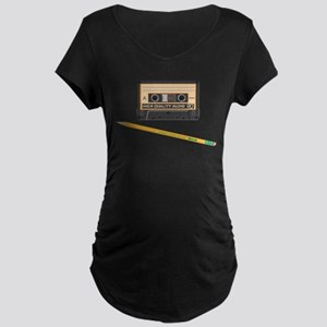 Cassette and Pencil Maternity Dark T-Shirt