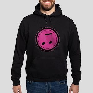 Cute Hot Pink and Black Music Notes Hoodie (dark)