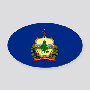 Vermont State Flag Oval Car Magnet