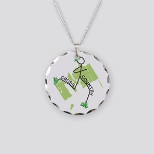 Cute Cross Country Runner Necklace Circle Charm