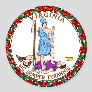 Virginia State Seal Round Car Magnet