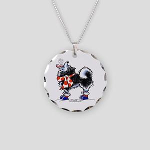 Alaskan Malamute Snowflake Necklace Circle Charm