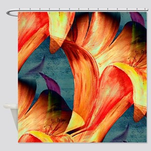Colorful Fun Floral Abstract Lily Shower Curtain