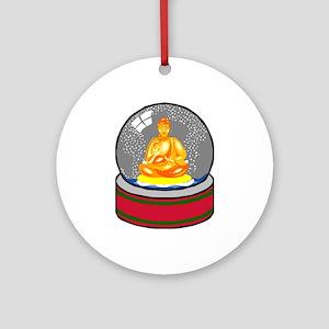 Meditating Buddha in a Snow Globe Ornament (Round)