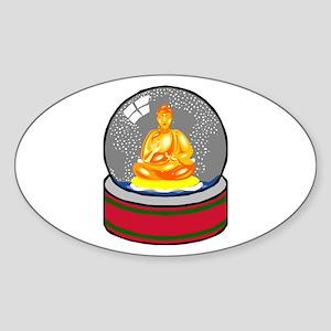 Meditating Buddha in a Snow Globe Sticker (Oval)
