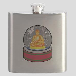 Meditating Buddha in a Snow Globe Flask