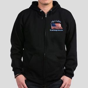 9/11 Tribute - Always Remember Zip Hoodie (dark)