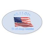 9/11 Tribute - Always Remember Sticker (Oval 50 pk