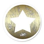 Distressed Vintage Star 3 Round Car Magnet