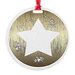 Distressed Vintage Star 3 Round Ornament