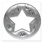 Distressed Vintage Silver Star Square Car Magnet 3
