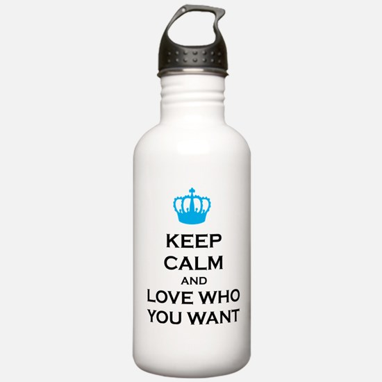 Keep Calm and Love Who You Want Crown Water Bottle