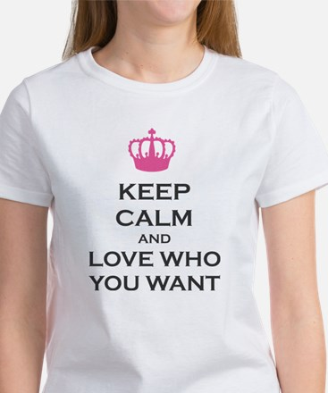 Keep Calm and Love Who You Want Crown Carry on Wom