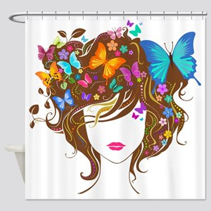 Butterflies & Flowers Shower Curtain