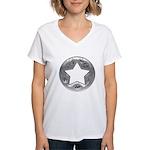 Distressed Vintage Silver Star Women's V-Neck T-Sh