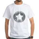 Distressed Vintage Silver Star White T-Shirt