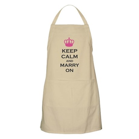 Keep Calm and Marry On Carry On Pink Crown Apron