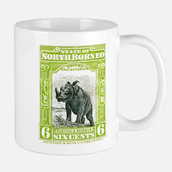 North Borneo Sumatran Rhinoceros Stamp 1909 Mug