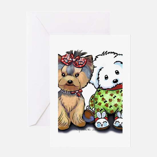 Yorkie and Maltese Greeting Card