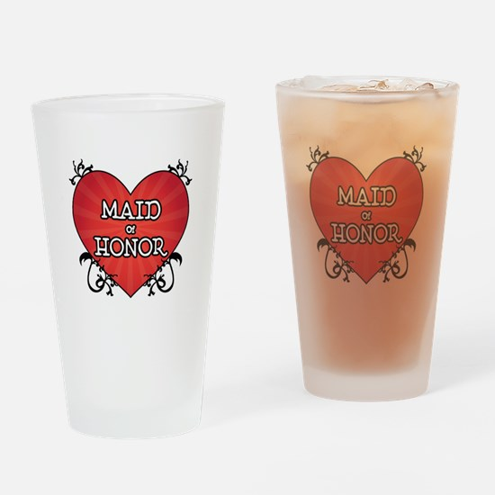 Tattoo Heart Maid Honor Drinking Glass