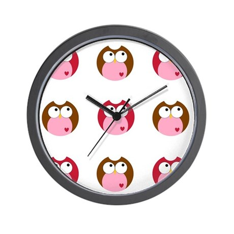 Pink Brown and Red Owls Wall Clock