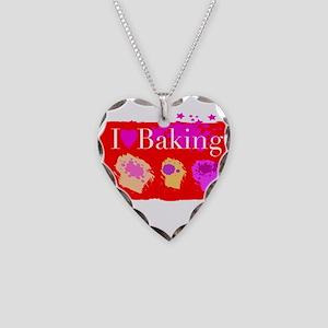 I Love Baking Necklace Heart Charm