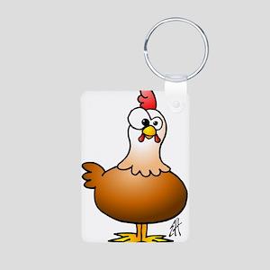 Cheerful Chicken - Hen Aluminum Photo Keychain