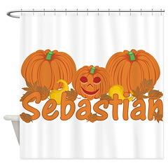 Halloween Pumpkin Sebastian Shower Curtain