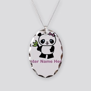 Personalized Panda Necklace Oval Charm
