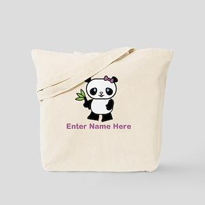 Personalized Panda Tote Bag