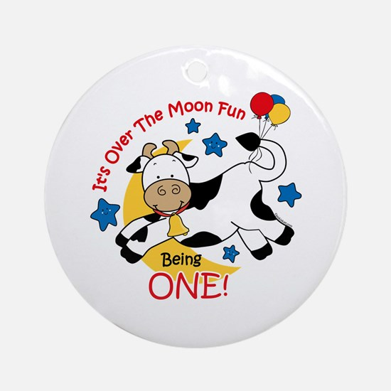 Cow Over Moon 1st Birthday Ornament (Round)
