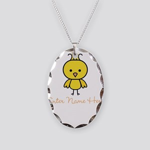Personalized Baby Chick Necklace Oval Charm