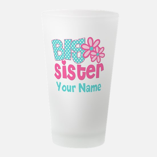 Big Sister Teal Pink Person Frosted Drinking Glass