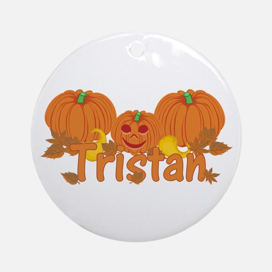 Halloween Pumpkin Tristan Ornament (Round)