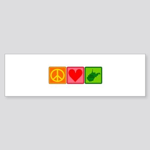 Peace Love West Virginia Sticker (Bumper)