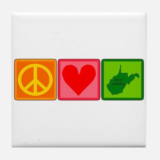 Peace Love West Virginia Tile Coaster