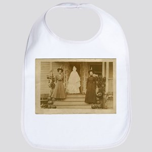 Vintage Halloween Photograph Witches and Ghost Bib