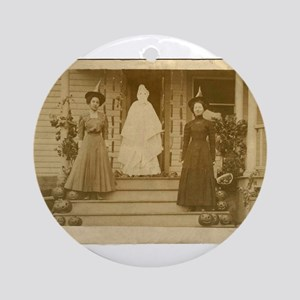 Vintage Halloween Photograph Witches and Ghost Orn