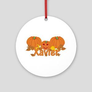 Halloween Pumpkin Xavier Ornament (Round)
