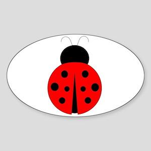 Red and Black Ladybug Sticker (Oval)
