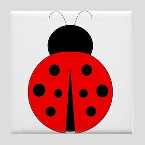 Red and Black Ladybug Tile Coaster