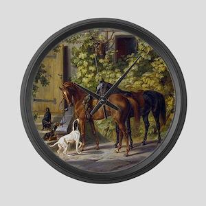 Adam Albrecht Horses at the Porch Large Wall Clock